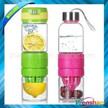 FRUIT INFUSED LEMON GLASS WATER BOTTLE ! BPA FREE AND LEAK PROOF