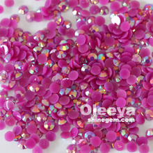 Free sample hot sale 6mm flatback non hotfix round beads dark amethyst AB jelly resin nail art rhinestone factory