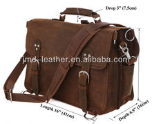 7161R Genuine Crazy Horse Leather Brown Tote Bag Duffle Big Travel Bag