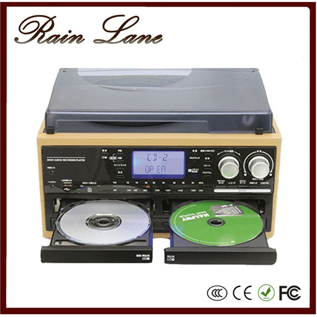 Rain Lane Hot sale phonograph record player with speakers double cd record Cassette USB SD radio LP vinyl records
