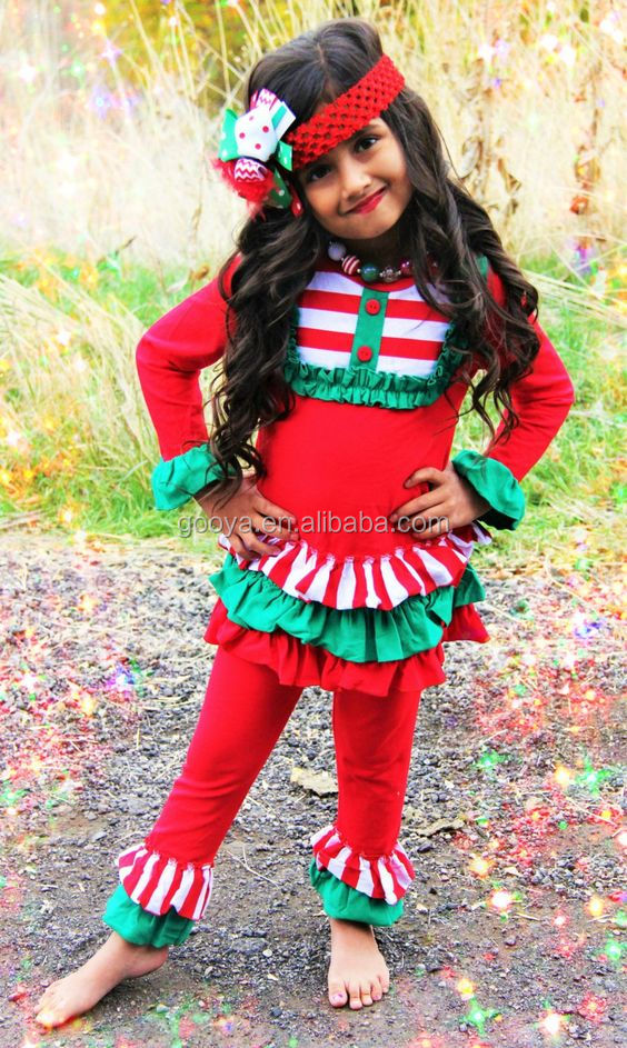 girl's christmas sets childrens fall clothes ruffle christmas boutique girl clothing