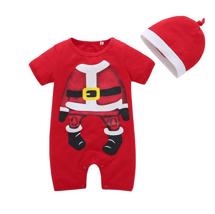 Christmas red romper kids winter the infant child clothing