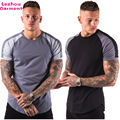 Mens gym curved hem t shirts cotton polyester t shirts