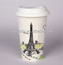 eiffel tower porcelain double wall mug for travel
