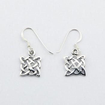 Celtic Knot Earrings Sterling Silver Square Danglers