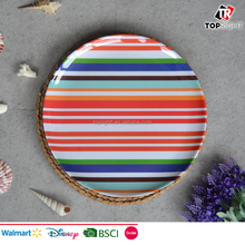 Hot sell outdoor melamine colorful stripe design dinner plates