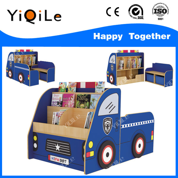 On sale kids book shelf bookcase car shape design preschool bookshelf