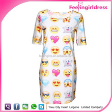 2015 latest preselling cheap casual emoji clothing fashion dress women