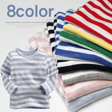 baby girls cotton striped tops girl long sleeve ruffle cuff clothing round collar T shirt