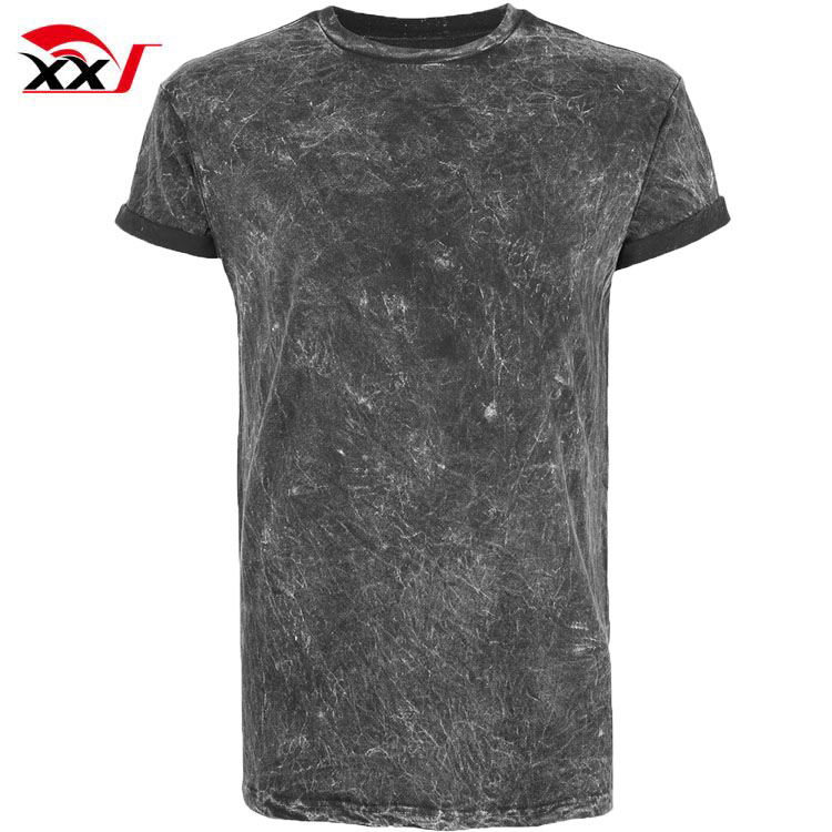 Mens clothing black acid wash muscle fit roller blank t-shirts cheap China bulk wholesale clothing