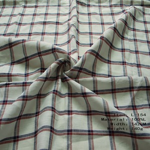 Wholesale Enzyme Washed Soft Plaid Pure 100% Flax Linen Fabric For Men's Shirt Fabric