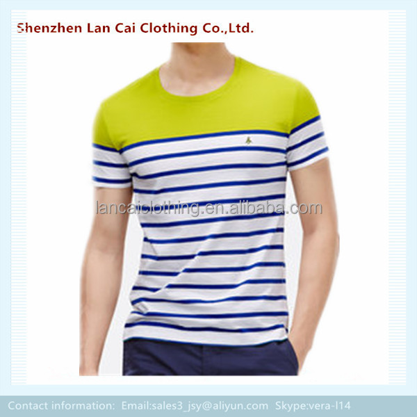 yarn dyed short sleeves o neck striped t shirts dry fit high quality stripe tees