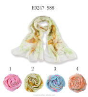 silk chiffon fabric prices borong flower print scarf shawl and scarves Tongshi supplier alibaba china hijab scarf