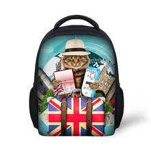 Hot Sale 12 inch Funny Travel Cat Print School bag and Backpack