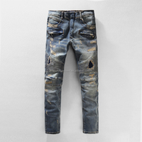 New model men vintage ripped motor motorcycle denim skinny biker trousers jeans