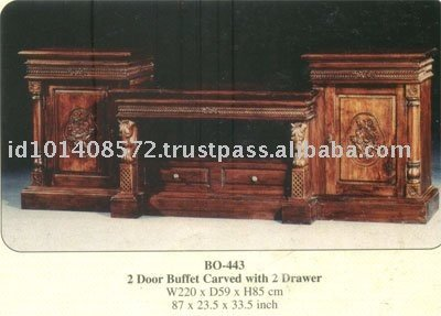 2 Door Buffet Carved with 2 Drawer Mahogany Indoor Furniture.