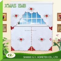 100% polyester christmas shower Embroidery design cut work border kitchen curtain