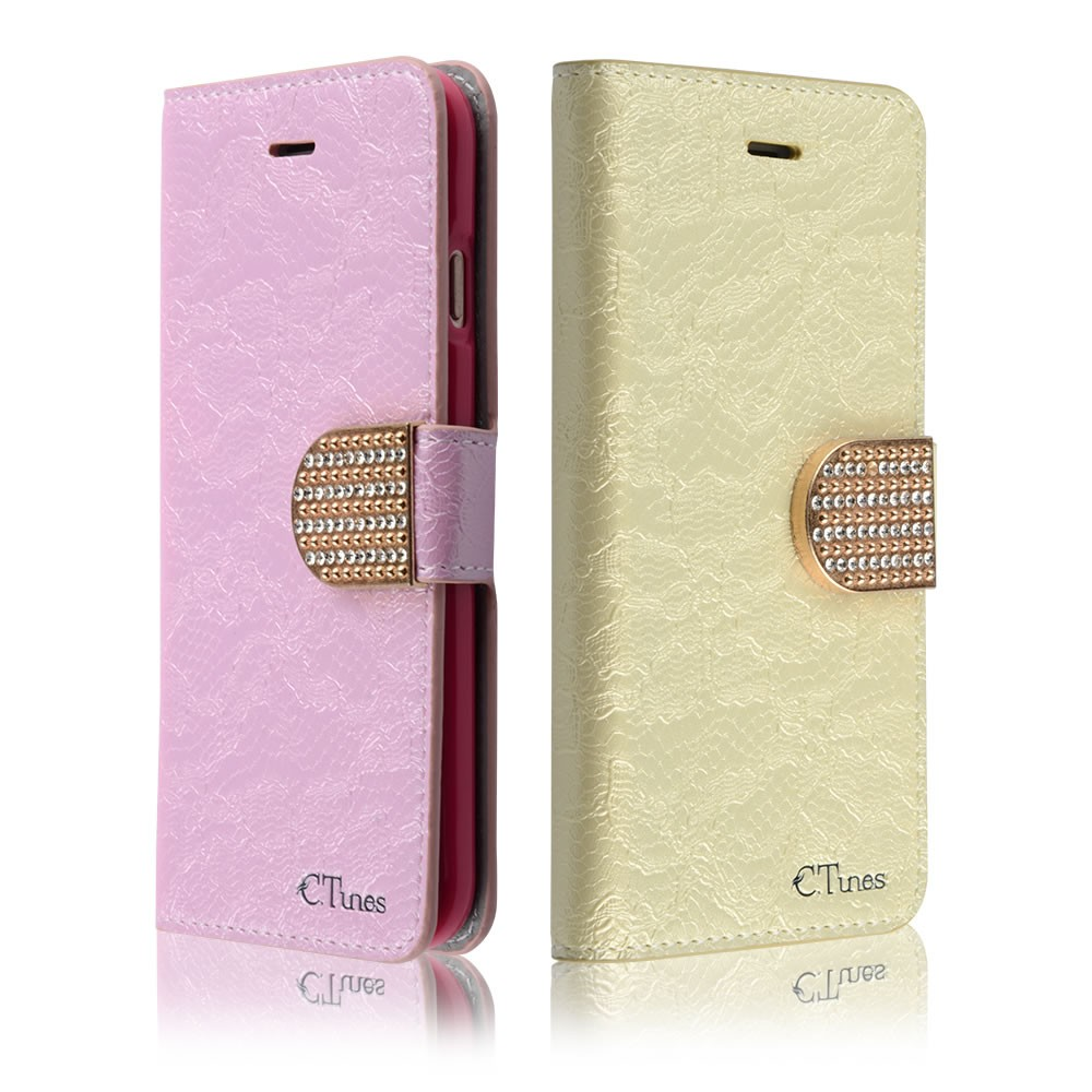 "C&T Pu Leather Wallet Diamond Design Sparkle Glitter Card Flip Open Pocket Case Cover Pouch For Apple iPhone 6 6S 4.7"" inch"