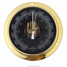 "4.5"" Wall Type Round Polished Brass Case Mechanical Skeleton Barometer Clock With Spring Window"