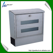stainless steel rectangle waterproof lockable wall mounted mailbox letterbox postbox with window