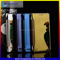 IN Stock Delicate screen touch electroplated mirror flip case for Samsung Galaxy A7 with Auto stand-by and sleep mode Wholesale