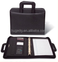 PU/PVC zip A4 portfolio folder with handle and calculator