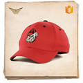 Promotional custom 2d embroidered logo structured red 6 panel cap baseball