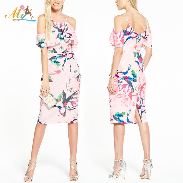 Sexy cold shoulder allover halter neck floral print vintage bridesmaid dress a line knee length maxi dress