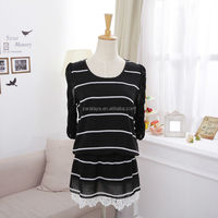 2014 New Fashion black chiffon dress with white stripes long sleeves loose casual women dress with lace hem