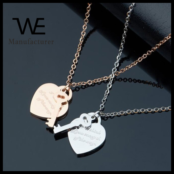 Romantic design stainless steel rose gold heart charm necklace jewelry