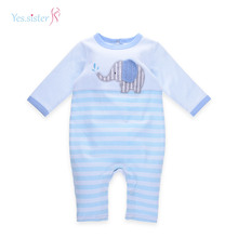 Hot Sell Fashion Winter Animal Applique Soft Organic Cotton Baby Romper