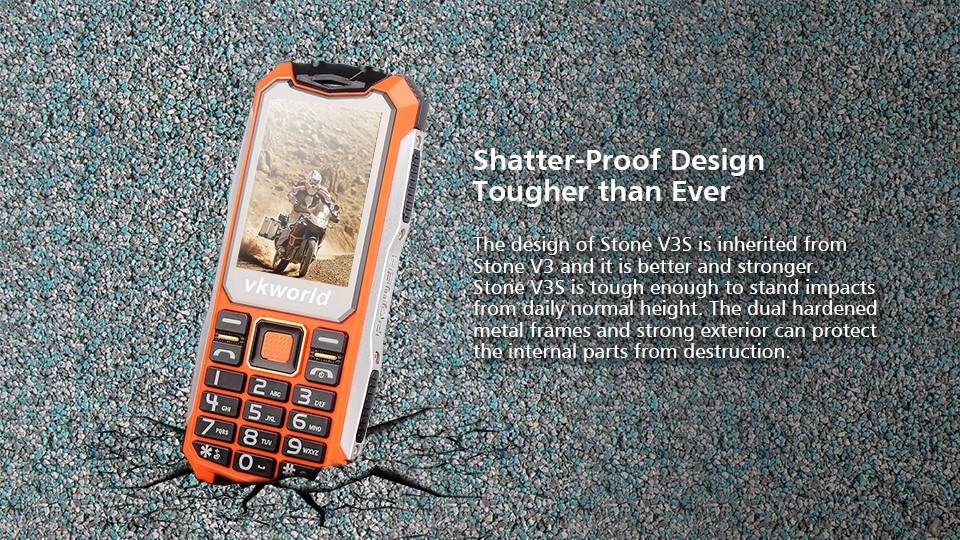 Wholesale price VKWORLD V3S 2.4inch dual sim waterproof rugged android phone 2200mah bar mobile phone