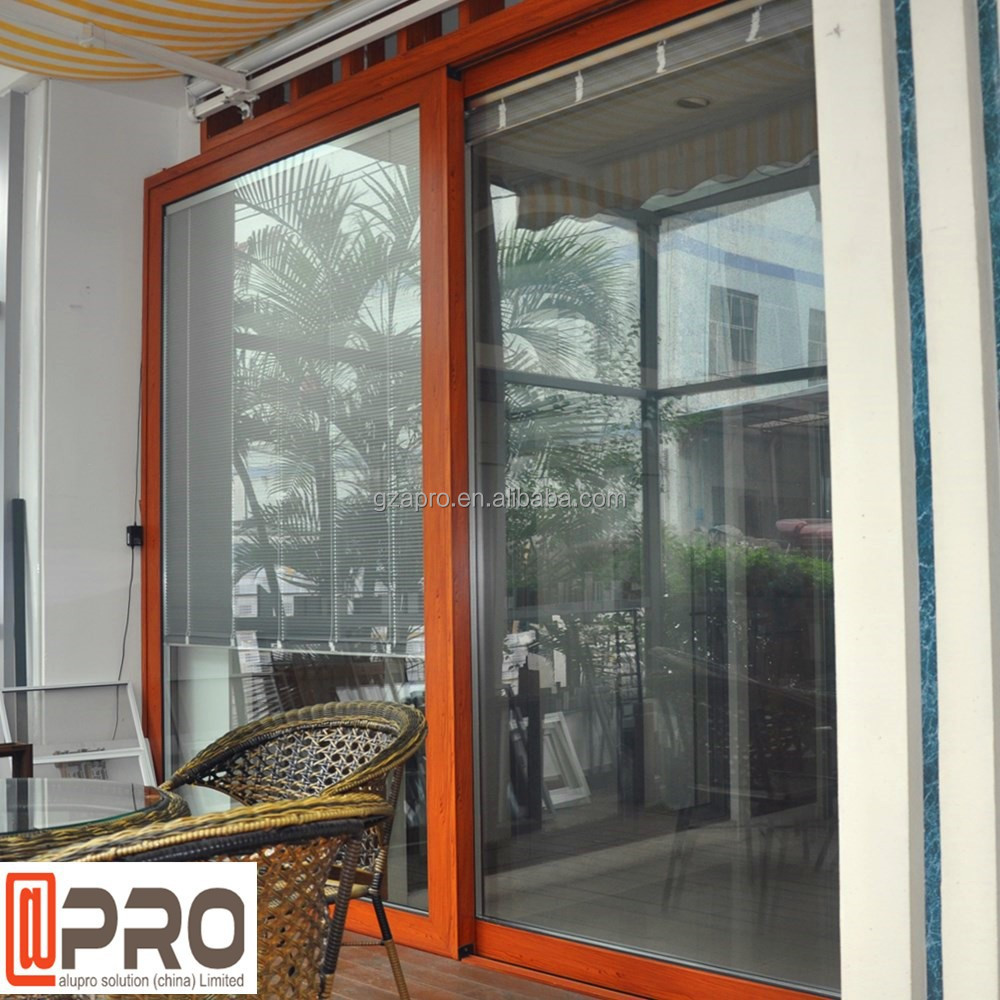 Aluminum sliding door with electric remote control blind inside double glass