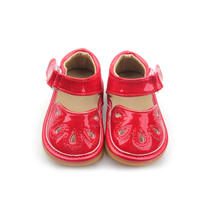 Red Flower Punch Mary Jane Toddler Girl Squeaky Shoes