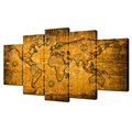 HD Printed Canvas Wall Decor Vintage World Map With Grunge Texture Canvas Art for Living Room Decoration 5 Pieces