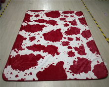 Animal Cow Skin Printed Raschel Fleece Blanket 100 Polyester One Ply Faux Fur Mink Throw 150*200cm 200*240cm