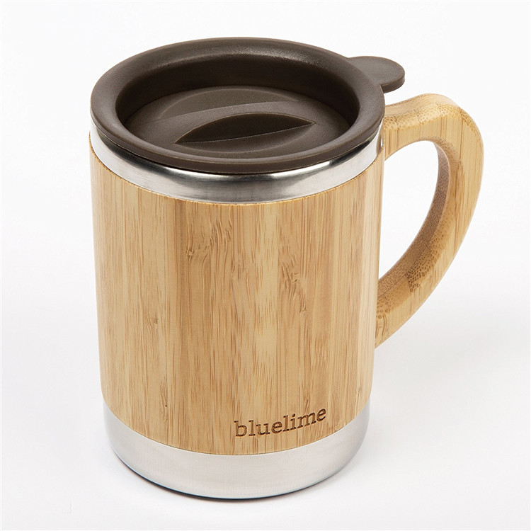 Non slip stainless steel inner wooden coffee cup with lid