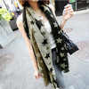 chiffon fashion hit color long silk scarf with large star pattern