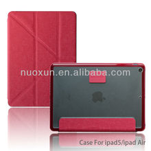 Good quality book style wallet leather flip case for ipad 5