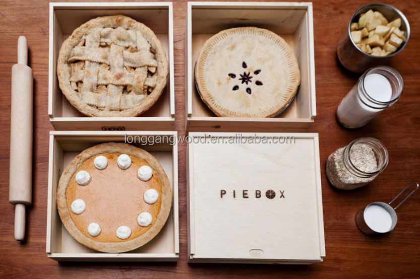 Plain Wooden pie/cake/hot food Storage Box with Removable lid