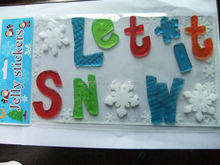 Christmas series letter and snowflake gel sticker for kids