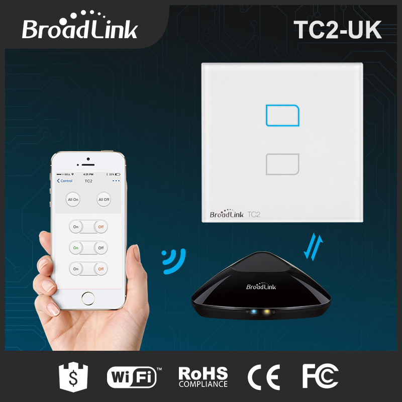 BroadLink mobile phone wifi controlled light switch 220v with led backlight 2 gang 2 way remote control smart wifi light switch