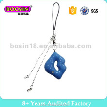 metal enamle Blue Lip Mobile Phone charms for Wholesale