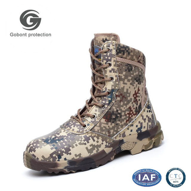 Hot sale cow leather and canvas upper camouflage safety boots with steel plate GB916-1
