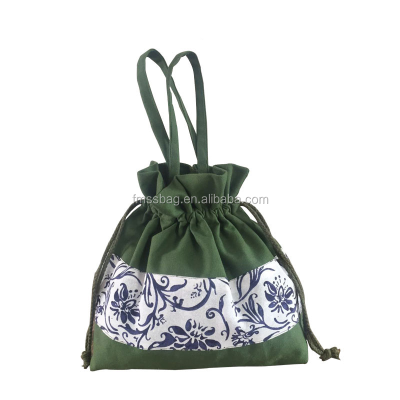 Promotional customized cotton green pouch tote bag for women