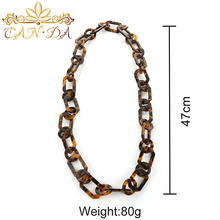 Hot sale fashion decorate acetate jewelry square round combination link tortoiseshell bib necklace