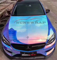 Blue Rainbow Laser Chrome Car Wrapping Vinyl Wrap Full Covering