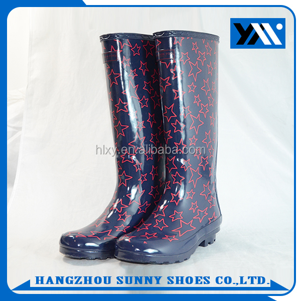 Star Printed high knee wellies wellington ladies rain rubber boots for sale