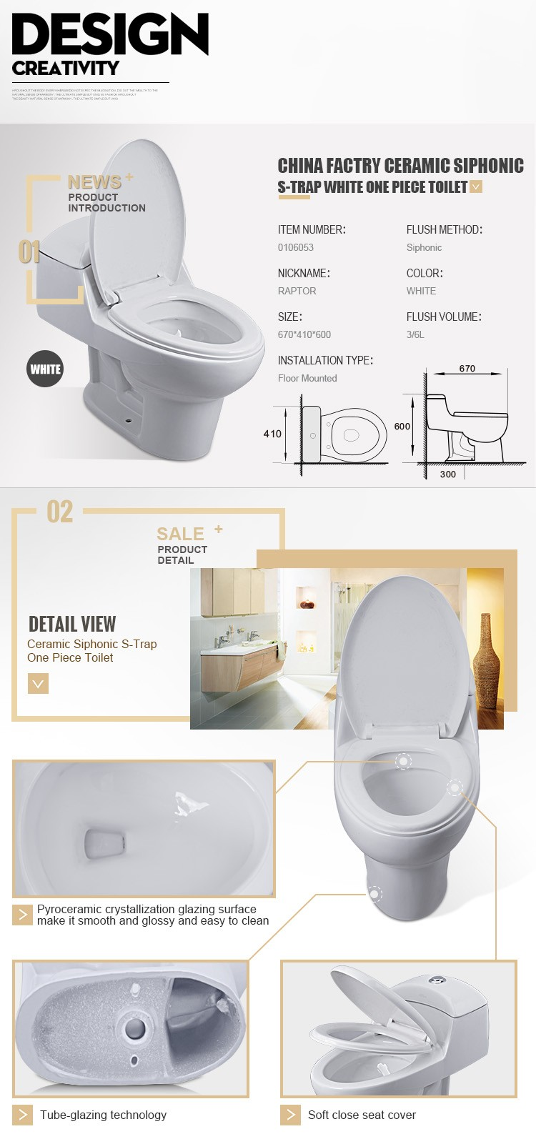 High Quality Porcelain Water Saving Water Closet White