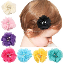 2.5 inch Pearl Diamond Headdress Flower Hair Accessories New Born Girl Hairpin Children Fashion Elastic Hairclip Hairbow